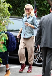Gwen Stefani was spotted out in LA wearing a denim button-down with her favorite piece: a pair of harem pants.