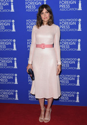 Mandy Moore was sweet and chic in a long-sleeve pink sequin dress by The 2nd Skin Co., which she cinched in with a complementary leather belt, at the HFPA Grants Banquet.