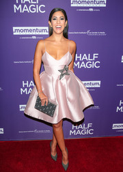 Stephanie Beatriz worked a pale-pink fit-and-flare cocktail dress with spaghetti straps and star embroidery at the premiere of 'Half Magic.'