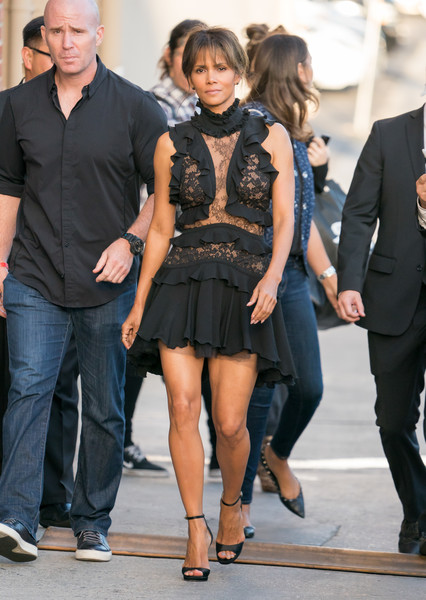 Halle Berry got majorly flirty in a partially sheer lace-and-ruffle LBD by Elie Saab for her appearance on 'Kimmel.'