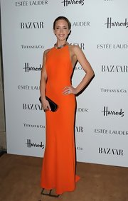 Emily's citrus column dress was the perfect choice for the Harper's Bazaar Women of the Year Awards.
