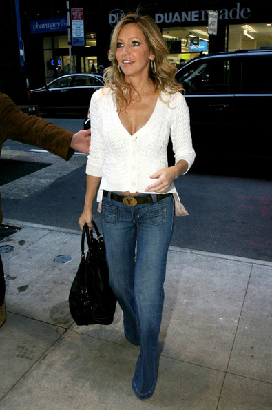 Heather dons a white blouse with jeans for her casual street style in Manhattan.