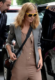 Heidi Klum opted for a bold look in NYC wearing a pair of canary yellow sunglasses.