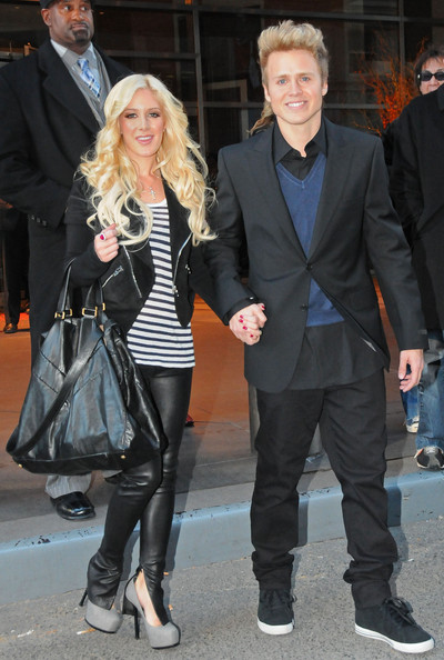 """Heidi rocked an edgy look completed by a black, zipper-embellished """"Suede Motorcycle Jacket""""."""