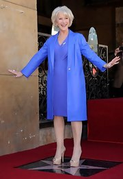 Helen Miran wore a periwinkle leather coat over her coordinating dress for receiving her star on the Hollywood Walk of Fame.