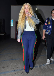 Iggy Azalea was spotted out in LA wearing a metallic blue cropped jacket.