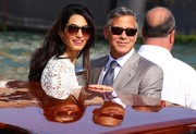 Amal Alamuddin looked chic in her cateye sunnies as she posed for photographers with new hubby George Clooney.