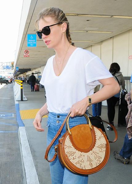 January Jones Straw Shoulder Bag []