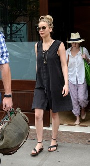 Jennifer Lawrence showed her off-duty style with this loose black day dress while out and about in New York City.