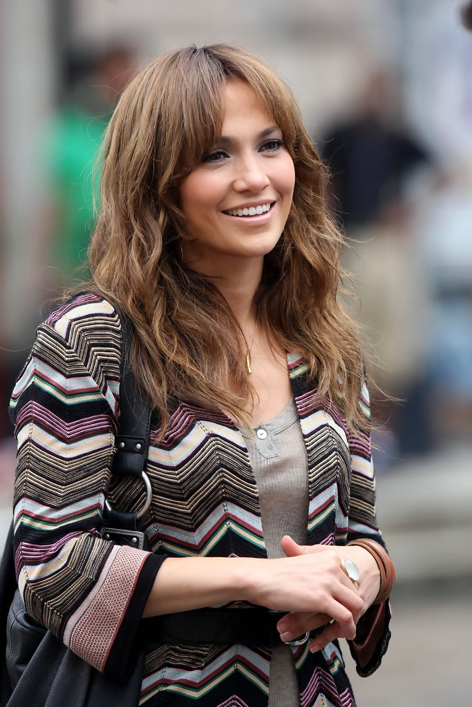 Jennifer Lopez Long Wavy Cut With Bangs Long Wavy Cut