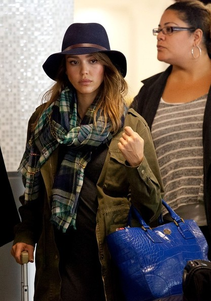 Jessica Alba Patterned Scarf