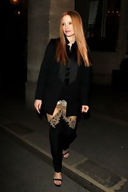 A classic black blazer topped off Jessica Chastain's sophisticated evening look while out in Paris.