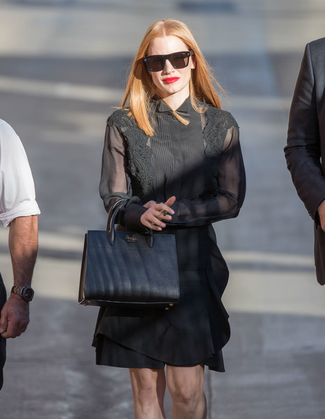 More Pics of Jessica Chastain Leather Tote (1 of 42) - Jessica Chastain Lookbook - StyleBistro []