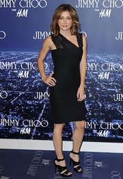 Sasha Alexander looked fierce at the Jimmy Choo for H&M launch in a black bandage dress with asymmetrical lace straps.