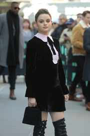 Joey King teamed a black suede purse with a velvet dress and over-the-knee boots for her visit to 'Build.'