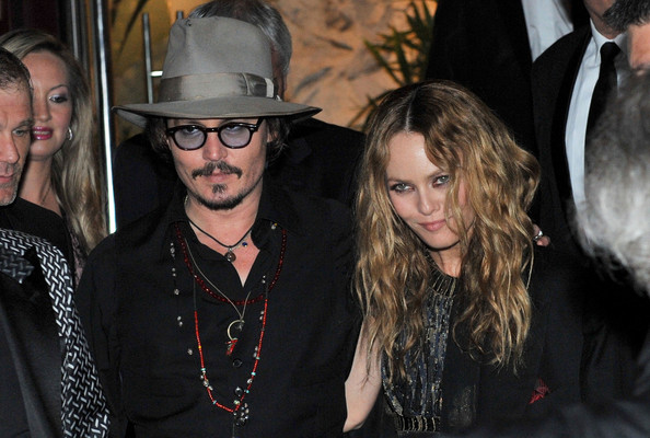Vanessa Paradis styled her long curls in a dramatic center part.