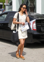 Jordana Brewster was spotted out looking cute in a perforated white T-shirt dress.