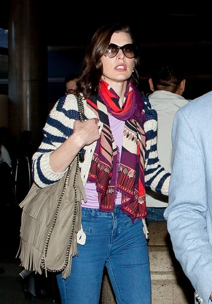 More Pics of Milla Jovovich Patterned Scarf (1 of 6) - Milla Jovovich Lookbook - StyleBistro
