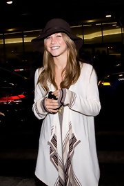 Julianne Hough looked boho chic with this brown wide-brimmed hat.