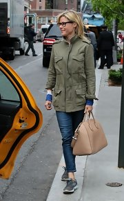 Julie Bowen stepped out in this cargo-style utility jacket while out in NYC.