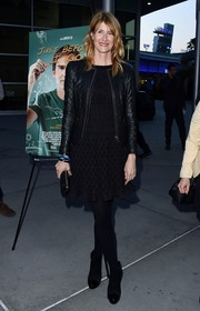 Laura Dern was in the mood for black when she attended the LA screening of 'Just Before I Go,' donning this LBD, leather jacket, tights, and boots ensemble.