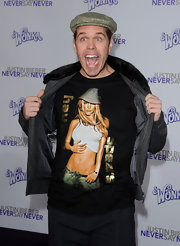 Perez Hilton showed off his Britney Spears tee during the premiere of 'Justin Bieber: Never Say Never.'