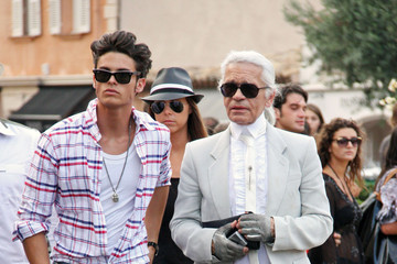 Karl Lagerfeld Baptiste Giabiconi Karl Lagerfeld and Baptiste Giabiconi Out and About
