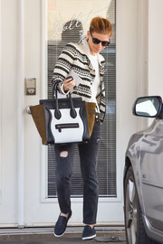 Kate Mara ran errands in style carrying a tricolor leather tote by Celine.