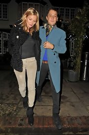 Kate Moss kept it low-key for her 39th birthday in a pair of rugged corduroy skinnies.