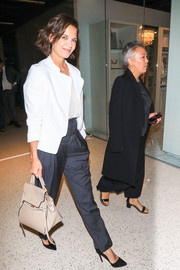 Katie Holmes was spotted out in LA carrying a stylish nude leather tote by Celine.