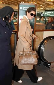 Kate Holmes looked posh on the go carrying a brown Max Mara Margaux Top Handle tote.