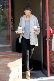 Kate Holmes went on a coffee run in tan suede ankle boots.