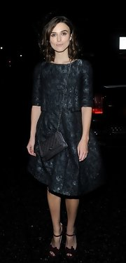 Keira was a total doll in this textured brocade dress at the Chanel dinner.