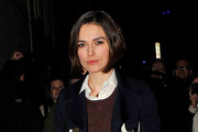***NO GERMANY / SWITZERLAND***.Keira Knightley gives a small smile as she leaves the Comedy Theatre.