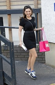 Kelly Brook chose a quilted LBD for her daytime look at the London Studios.
