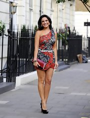Kelly Brook sported a one-shoulder patterned dress while out in London.