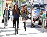Kendall Jenner was out and about Beverly Hills wearing gray knee-high boots.