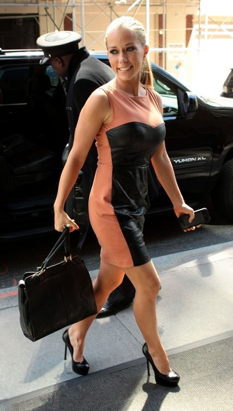 Kendra Wilkinson chose this peach dress with a front leather panel for her daytime look that was a blend of feminine and edgy.