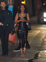 Kerry Washington went vampy in a black leather trumpet dress by Michael Kors for her appearance on 'Jimmy Kimmel Live.'