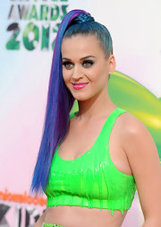 Katy Perry wore her multi-colored hair in a braid-wrapped ponytail at the 2012 Kids' Choice Awards.