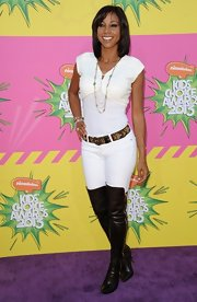 Holly Robinson Peete chose these funky over-the-knee boots for her look at the Kids' Choice Awards.