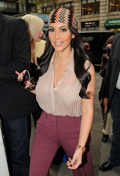 More Pics of Kim Kardashian Head Scarf (2 of 7) - Kim Kardashian Lookbook - StyleBistro []