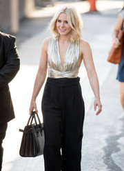 Kristen Bell headed to 'Kimmel' carrying a chic black Saint Laurent tote.