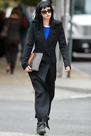 Krysten kept warm in this ankle-length wool coat while out in Soho.