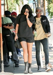 Kylie Jenner stayed low-key in a boxy pinstriped tee by Alexander Wang while shopping in LA.