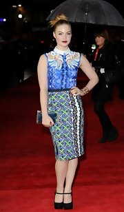 Holliday Grainger carried a print blouse well at the London Film Fest.