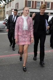 Sophie Turner was retro-preppy in a patterned pink skirt suit during the Topshop Unique fashion show.