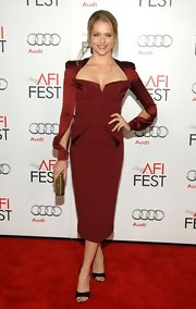 Teresa was a vintage vision in this Merlot satin cocktail dress at the AFI Fest.