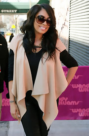 A draped nude vest added lots of flair to La La Anthony's look during her appearance on 'The Wendy Williams Show.'