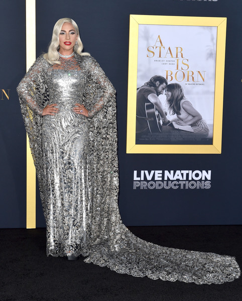 Lady Gaga Lace Dress [a star is born,film,clothing,dress,fashion,gown,carpet,costume design,premiere,red carpet,silver,haute couture,carpet,dress,clothing,los angeles,shrine auditorium,california,warner bros. pictures,premiere,lady gaga,a star is born,los angeles,film,premiere,actor,shallow]